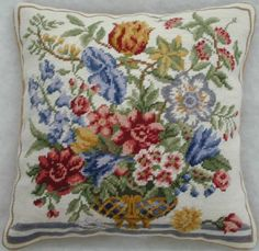 Colonial Decor like these needlepoint pillows add a soft touch to any home decor. Colonial Accessories begin with a Williamsburg needlepoint pillow. Needlepoint Pillows, Colonial Williamsburg, Red Tulips, Needlework, Cross Stitch, Tapestry, Embroidery, Quilts, Floral