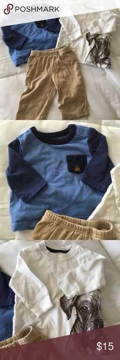 Bundle of outfit(s) for baby boy Blue shirt is baby gap and 0/3 months. White shirt and pants are Carters and size 3 months. All in great condition. Carters Other