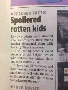 Silencing the classroom: Game of Thrones style Classroom Games, Classroom Management, Classroom Ideas, Teacher Humor, Teacher Stuff, Teacher Tips, Bad Teacher, School Teacher, Game Of Thrones