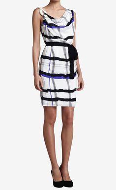 Escada White, Black & Violet Dress | VAUNTE