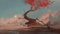 Red Tree by Exphrasis.deviantart.com on @deviantART
