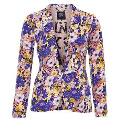 Dept Blazer Floral ($155) found on Polyvore   Love it! When I win the lottery!