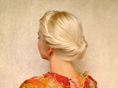 Elegant hairstyle for medium long hair: Gibson tuck roll updo!