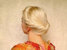 Wedding hairstyles for medium long hair tutorial Bridal prom updo Gibson tuck roll