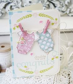 Bitty Baby Blessings Revisited: Double The Love Card by Melissa Phillips for Papertrey Ink (May 2015)