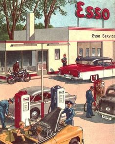 Esso gas station s Old Gas Pumps, Vintage Gas Pumps, Pub Vintage, Vintage Signs, Weird Vintage, Automobile, Pompe A Essence, Old Gas Stations, Garage Art