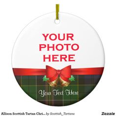 Allison Scottish Tartan Christmas Photo Double-Sided Ceramic Round Christmas Ornament
