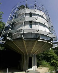 Green to the extreme, Architect Rolf Disch built a solar powered home that rotates towards the warm sun in the winter and rotates back toward its well-insulated rear in the summer.