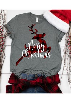 Christmas SVG Buffalo Plaid Reindeer This t-shirt is Made To Order, one by one printed so we can control the quality. Christmas Vinyl, Christmas Clipart, Family Christmas, Merry Christmas, Christmas Clothes, Vinyl Christmas Shirts, Christmas Outfits, Christmas Pajamas, Christmas Time