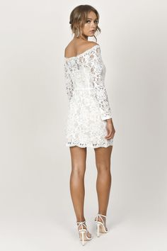 When the invite says to dress up, show up in the Adelyn Lavender Lace Bodycon Dress to wow them all. This lace banquet dress features a bardot necklin Shower Dress For Bride, Shower Dresses, White Lace Bodycon Dress, Short Lace Dress, Wedding Rompers, Wedding Dresses, Rainbow Wedding Dress, Banquet Dresses, Marie
