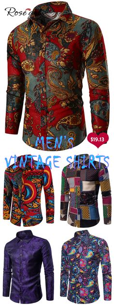 home-decor Ideas DIY Dollar Stores is part of Best Diy Dollar Store Home Decor Ideas And Designs For - Rosegal Ethnic Paisley Print Long Sleeve Shir Cheap Flannel Shirts, Casual Shirts For Men, Mens Fashion Suits, Fashion Wear, Fashion Outfits, Fashion Boots, Fashion Days, High Fashion, Fashion Trends