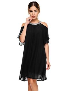 85b3e3d359df BEAUTYTALK Women's Short Sleeve Lace Crystal Chiffon Knee Loose Casual  Shift Dress Dress Online, Active