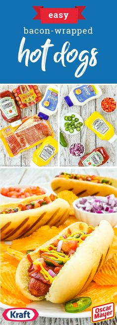 Easy Bacon-Wrapped Hot Dogs – Nothing says summer quite like enjoying dinnertime outdoors. Before your family heads to the table, whip up this recipe for Easy Bacon-Wrapped Hot Dogs. Complete with a toasted bun, the combination of OSCAR MAYER Hot Dogs and Bacon is one your family is sure to enjoy—especially when they add their favorite toppings like HEINZ Tomato Ketchup and HEINZ Yellow Mustard. Find everything you need for this dish at Walmart! #GrabGoWow
