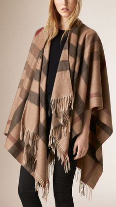 Check Wool and Cashmere Poncho