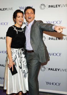 An Evening With the Cast of Scandal from Party Pics: New York  Bellamy Young and Tony Goldwyn share a laugh at The Paley Center.