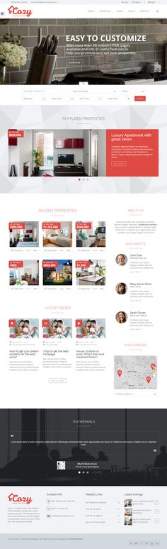 Cozy is Premium full Responsive HTML5 Real Estate Template. Retina Ready. Parallax Scrolling. Bootstrap Framework. Google Map. http://www.responsivemiracle.com/cms/cozy-premium-responsive-real-estate-html5-template/