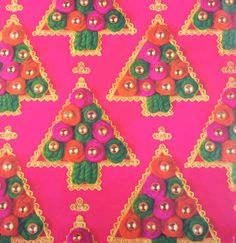 vintage hot pink christmas wrapping paper or gift wrap with christmas trees yarn trim beads gold accents - Pink Christmas Wrapping Paper