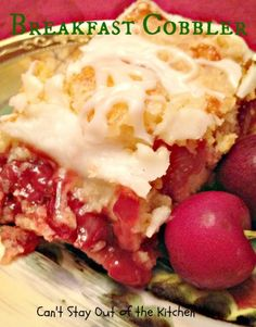 Breakfast Cobbler | Can't Stay Out of the Kitchen | spectacular breakfast coffeecake that starts with a cake mix and cherry pie filling. Wonderful for holiday breakfasts.