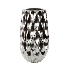 """$66.99  Round Vase with Embossed Wave Design and Rounded Bottom  Polished Chrome Finish Silver Product Size: 7.00""""x7.00""""x12.00""""H Material and Color: Ceramic Silver Style#: 11410 One Piece Chrome Finish  Www.Latestliving.com"""