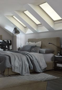 Imagine the possibilities when a quiet space is transformed with fresh air and daylight from skylights. All you have to do is look up to your fifth wall. - Home Projects We Love Dream Bedroom, Home Bedroom, Bedroom Decor, Bedrooms, Master Bedroom, Home Renovation, Home Remodeling, Lounge, Indoor Air Quality