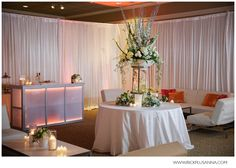"""Columbia Winery """"Winter Sunrise"""" at Weddings in Woodinville   Coordination by Pink Blossom Events    Photography by Rick + Anna Photography   lounge furniture by ABC Special Event Rentals   lighting by Chris Graves Music   Florals from Fena Flowers"""
