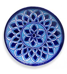 Blue Pottery With Decorative Plate With Rangoli Design