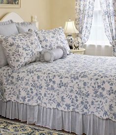 Sophia Toile Quilt from Country Curtains.mix with some navy! Blue Bedding, Blue Bedroom, Dream Bedroom, Bedding Sets, Bedroom Decor, Master Bedroom, Bedroom Curtains, Bedroom Ideas, Toile Bedding