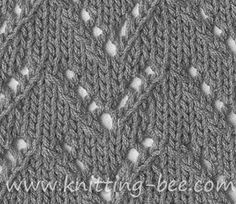 Free eyelet chevron stitch pattern. Abbreviations: k = knit tog = together yo = yarn over skpo = slip 1, knit 1, pass slipped stitched over Cast on multiples of 9 Row 1 (RS): *k4, yo, skpo, k3; rep from * to end Row 2 and all even rows: purl Row 3: *k2, k2tog, yo,…