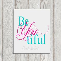 Beyoutiful printable Nursery wall art decor Little girl bedroom print Gray turquoise Pink nursery print Baby girl decor Baby shower Download on Etsy, $5.00