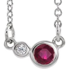 14K White Created Ruby /& .02 CTW Diamond Accented Earrings