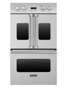 """Viking Professional French-Door 30"""" double oven with 4.7 cu. ft. capacity, convection system, and infrared broiler. Available in stainless steel and a range of color finishes; from $7,399. vikingrange.com, 888-845-4641"""