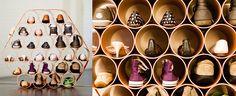 Geniale Idee: das Schuhröhrenregal #DIY #Schuhe #Schuhschrank
