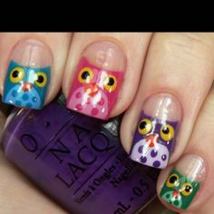 Back to School owl nails lol