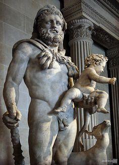 Hercules (Heracles) with his son Telephus - detail, Roman statue (marble) copy after Greek original, 1st–2nd century AD (original 4th c. BC), (Musée du Louvre, Paris).