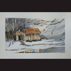 Latest video posted on YouTube. Barn on a winters night. Link to my YouTube Channel is in my bio or Cut and Paste:  https://m.youtube.com/c/petersheelerart  #Video #youtube #youtubers #landscape #art #original #watercolor #winsorandnewton #watercolour #painting #paintingaday #penandink  #architecture #ink #moleskine_arts  #canada #ImagesofCanada #farm #countryside #farmhouse #winter #snow