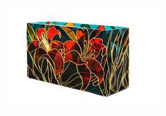 Orange Lilly Hand Painted Decorative Glass Vase/ by SylwiaGlassArt, $150.00