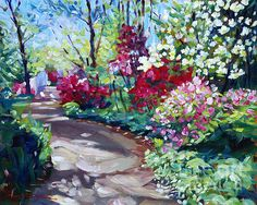 Spring blossoms forth in this plein air painting by David Lloyd Glover