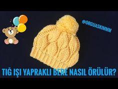 TIĞ İŞİ YAPRAK ÖRNEKLİ PONPONLU BERE YAPILIŞI VİDEOLU | Nazarca.com