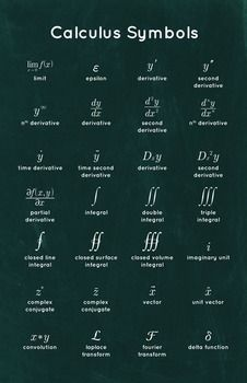 Education Discover Calculus Symbols - Math Poster by Math Posters Physics Formulas Physics And Mathematics Advanced Mathematics Math Notes Math Vocabulary Math Numbers Physical Science Math Lessons Algebra Physics Formulas, Physics And Mathematics, Advanced Mathematics, Quantum Physics, Math Notes, Math Vocabulary, Math Help, Math Numbers, Physical Science