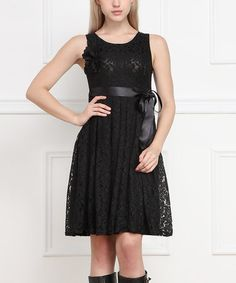 Another great find on #zulily! Black Lace Empire-Waist Dress by Reborn Collection #zulilyfinds