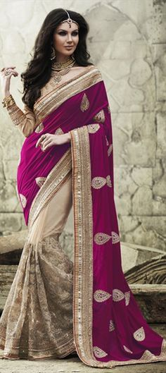 INDIAN WEDDING COUTURE - mix the white with magenta, and get this! #saree #colorblock #bride #Embroidery #lace