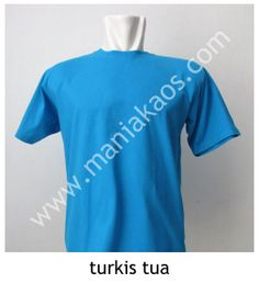 Kaos O-neck Lengan Pendek Turkis Tua. Tersedia juga model lengan panjang untuk warna turkis tua.