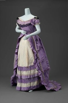 Lavender Silk Gown.  House of Worth, Paris, France, ca. 1870.  MFA Museum of Fine Arts, Boston, USA.