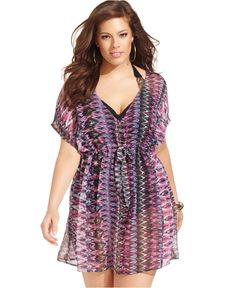 Becca Plus Size Cover Up, Batwing-Sleeve Tribal-Print - Plus Size Swimwear - Plus Sizes - Macys