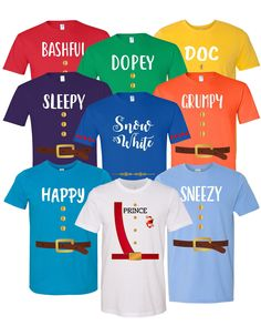4ab3784c 7 Dwarfs Shirts - Adult, Youth, Toddler Cosplay Costume Seven Dwarfs 7 Dwarf  - Family, Cruise, Group Event Snow White and Seven Dwarf
