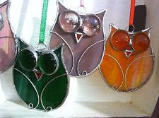 Hand-made stained glass owl bird with wire suncatcher/brooch window gift