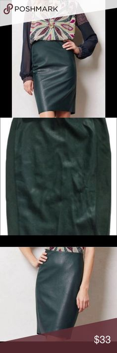 """Anthropologie Bailey 44 vegan leather inset skirt Beautiful dark green color. Lots of stretch, lined pencil skirt. 100% polyurethane inset, 61% rayon/35% nylon/4% spandex skirt. Lining 100% polyester. Dry clean.  Excellent condition. Size 8. Length 21.5"""". Waist measurement, laid flat: 15"""", hip: 17"""" - with lots of give. Anthropologie Skirts"""