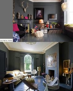 Modern Country Style - Dark walls with cream ceiling.Farrow and Ball Down Pipe Colour Case Study Farrow Ball, Farrow And Ball Paint, Grey Wall Color, Wall Colors, Paint Colours, Dark Walls, Grey Walls, Grey Front Doors, Interior And Exterior