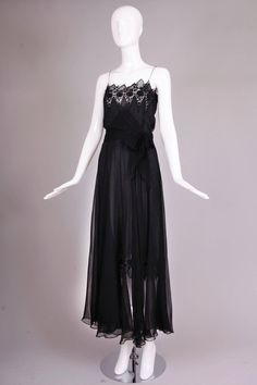 Nina Ricci by Gerard Pipart Haute Couture Silk Evening Gown w Lace Detail  ca1980 f0ba3763ef1