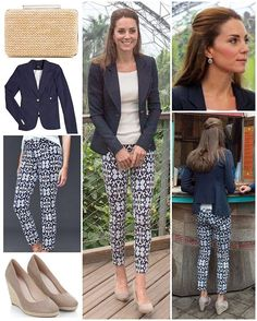 The Duchess opted for a bit of a different look from her norm today, wearing patterned trousers to the Eden Project in Cornwall before flying to the Isles of Scilly. While her LK Bennett 'Natalie' clutch and Monsoon 'Fleur' wedges stayed the same as yesterday, Kate wore a new white ribbed top that is yet to be identified underneath her navy Smythe blazer (£462) which she has worn on a number of previous occasions. It is known for the cutout at the back which you can see above. She also wore…